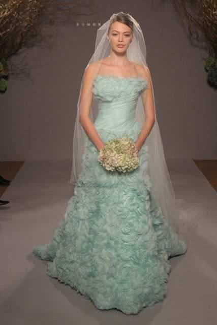 Romona Keveza Seafoam Green Wedding Gown With Ruffles 2013 Find This Pin And More On Colored