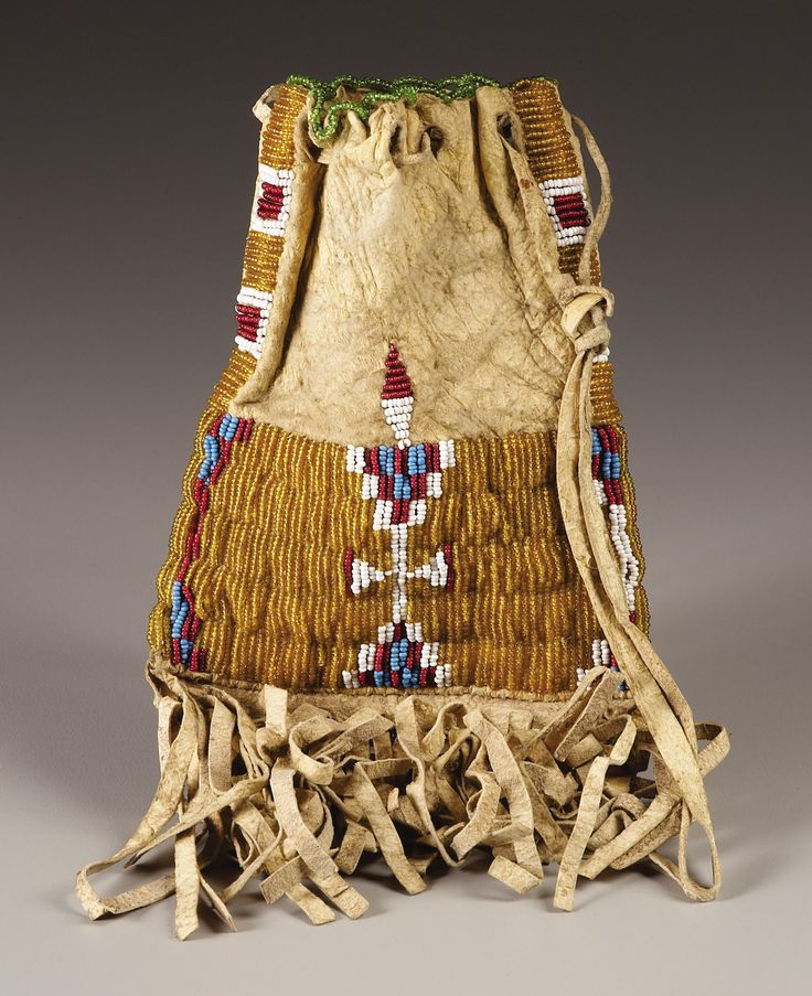 A SIOUX MINIATURE BEADED HIDE TOBACCO BAG. . c. 1900. ... American | Lot #77083 | Heritage Auctions