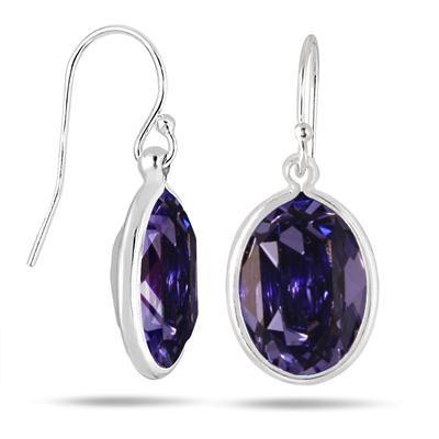 Genuine Swarovski Element Tanzanite Crystal Earrings in .925 Sterling Silver