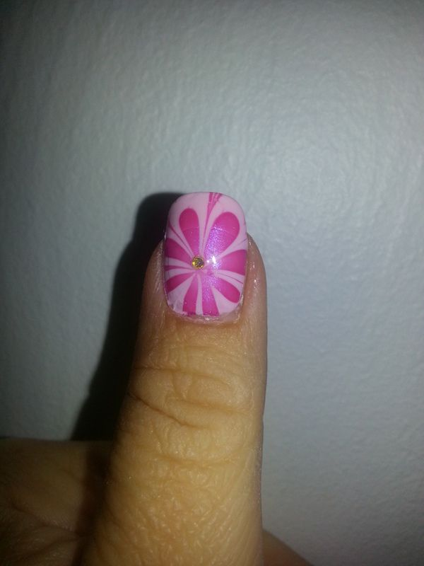 Water Marble, Pink & White on Light Pink Base