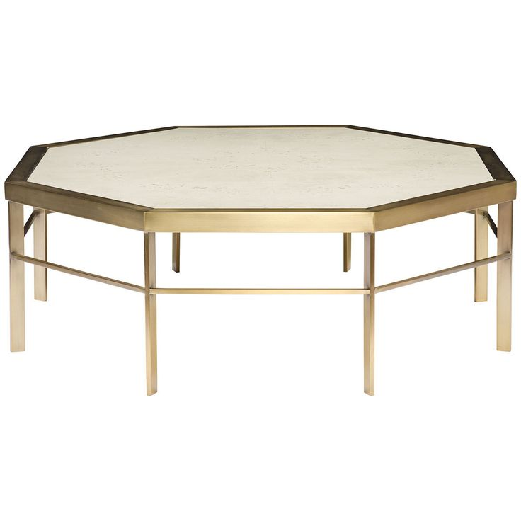 """Vanguard Furniture Tranquility Cocktail Table in Barrington. Details: - Satin brass metal base - Wood top - Materials: Mappa Burl Veneer and Satin Brass Plated Metal Dimensions: - Overall: 48"""" w x 48"""""""