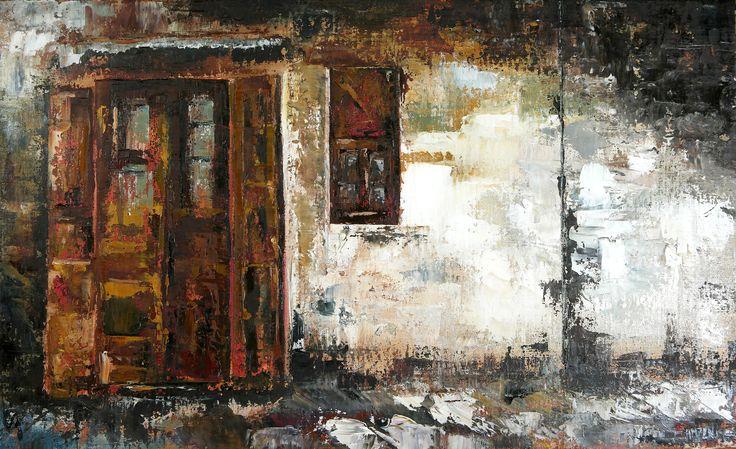 Trabajo en óleo y espátula interpretado - La tapia del pueblo. Work in oil and spatule interpreted - The wall of the Village. HMZEN'15