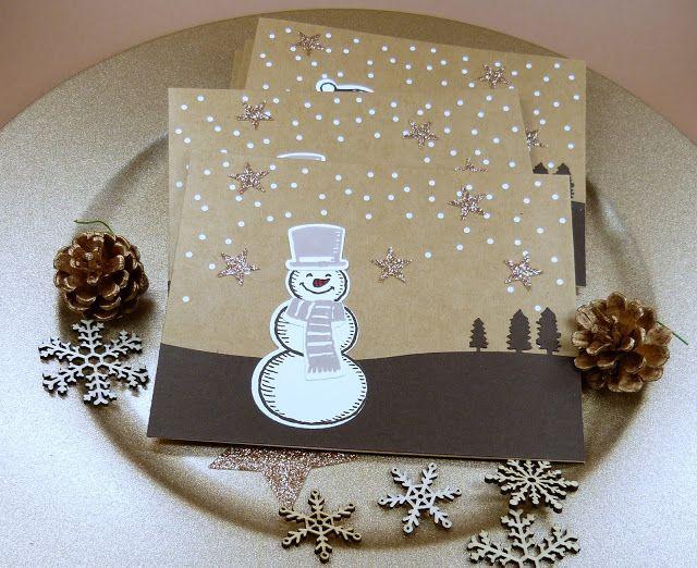 Stempelitis: Schneemänner auf Umschlägen, Gutschein, Verpackung, Geschenk, Weihnachten, Schneemann, Es schneit, Stampin up