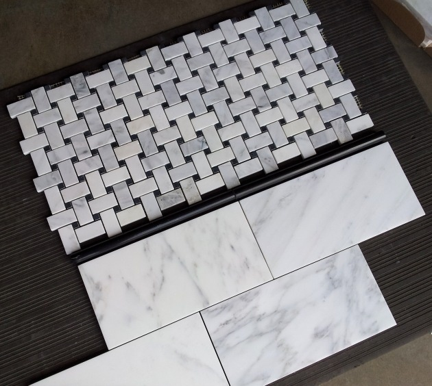 "$10.95 Free Shipping Carrara Venato Basketweave Marble Mosaic Tile and matching Carrara Venato 6x12"" Subway tile."