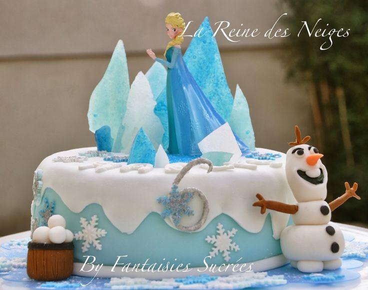 Fantaisies Sucrées: La Reine des Neiges: gâteau d'anniversaire 3D (pâte à sucre)