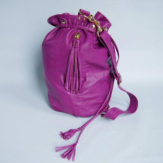 Lamb skin bucket bag No. 010  magenta/gold by valhallabrooklyn, 7x5.5x11.5, $185