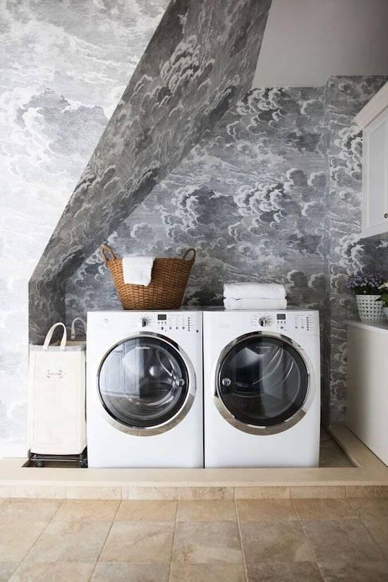 laundry room //  Cole & Sons Fornessti Nuvole Cloud wallpaper // the zhush