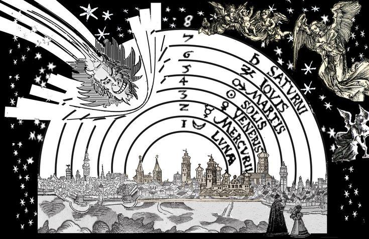 la comète de 1577 qui démontra l'impossibilité de l'existence des 7 sphères célestes de cristal. Elle cassa les sphères par sa trajectoire rebelle, elliptique d'abord puis parabolique voire hyperbolique par la suite. La comète est représentée à l'image de Lucifer, celui qui porte la lumière.