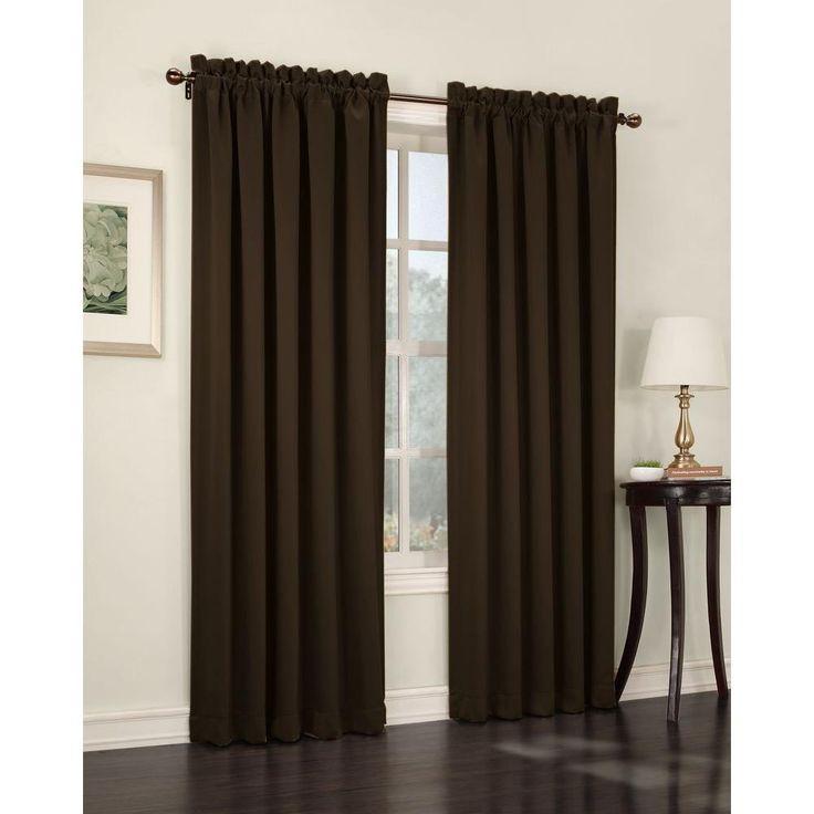 Sun Zero Semi-Opaque Chocolate (Brown) Gregory Room Darkening Pole Top Curtain Panel, 54 in. W x 84 in. L