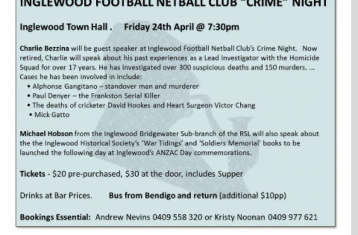 "Inglewood Football Netball Club ""Crime"" Night"