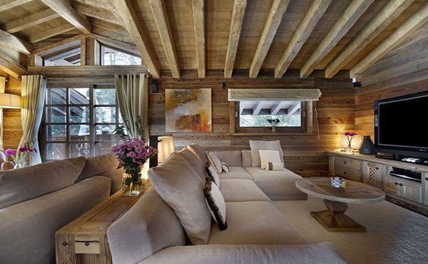 wunderliches berghütte design wohnbereich sofa