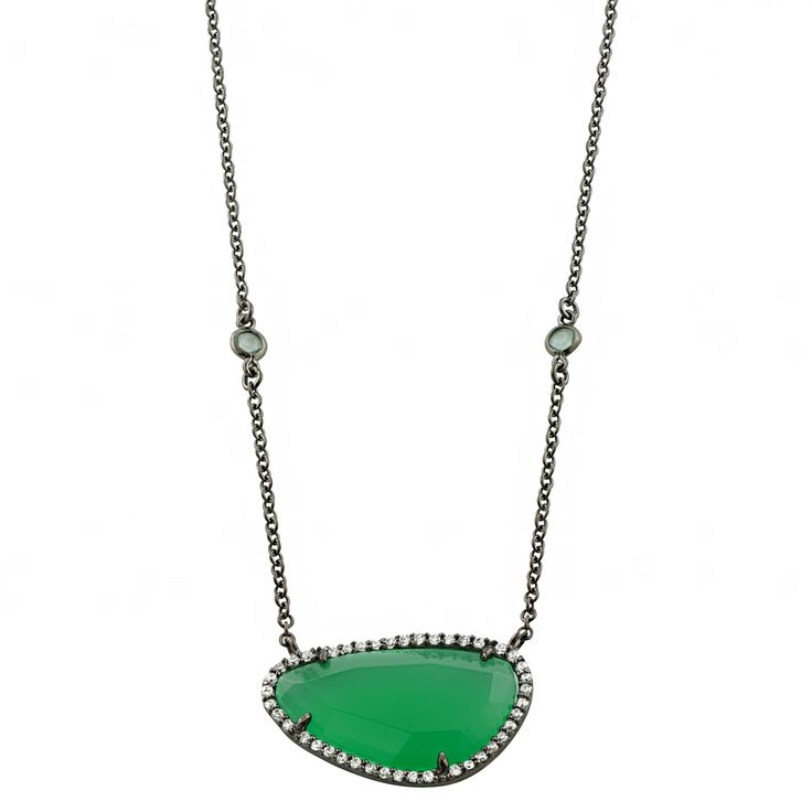 Fremada Black Plated Sterling Silver Green Milk Glass and Cubic Zirconia Necklace