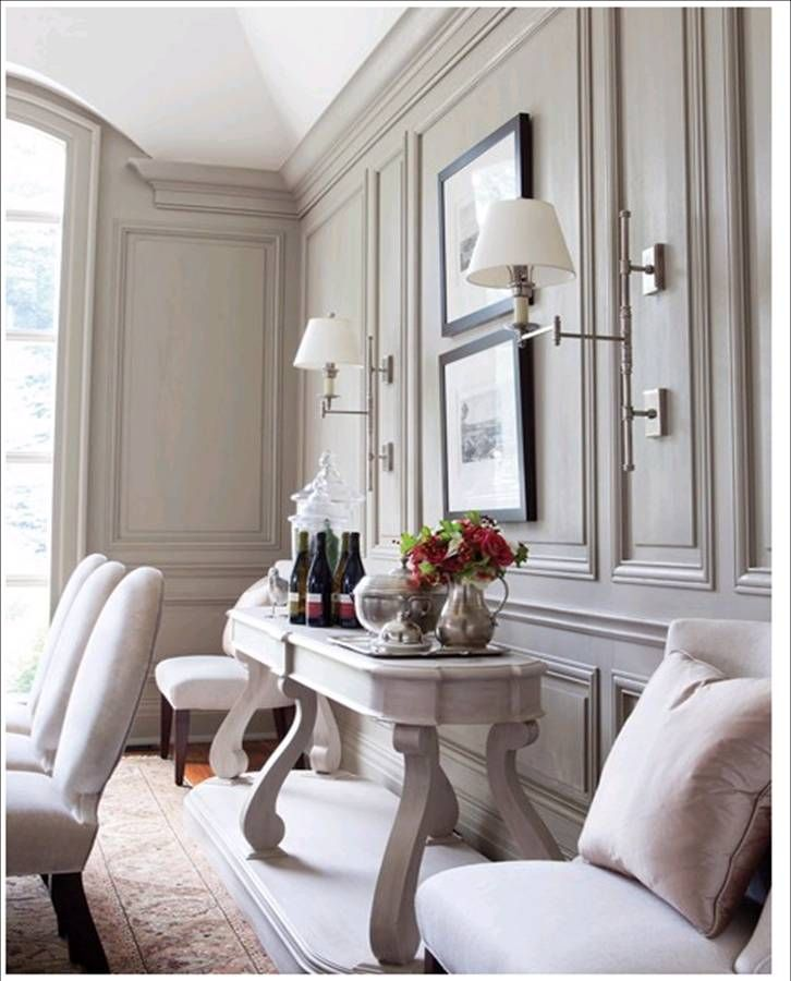 a fairly detailed panelling in a dining room. Something like this could look nice in your dining room.