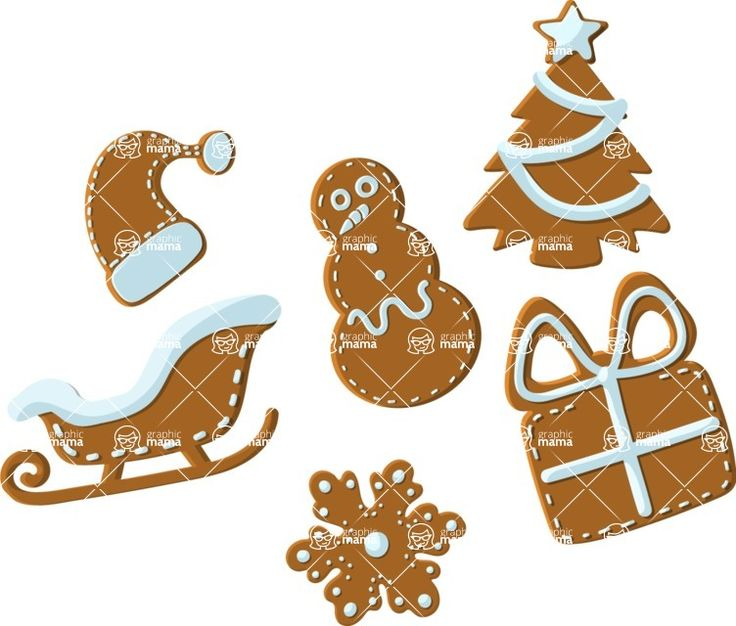 Christmas cookies illustration. Vector flat design cartoon suitable for any project - print or web. Vector stock images. #Christmas #cookies #illustration