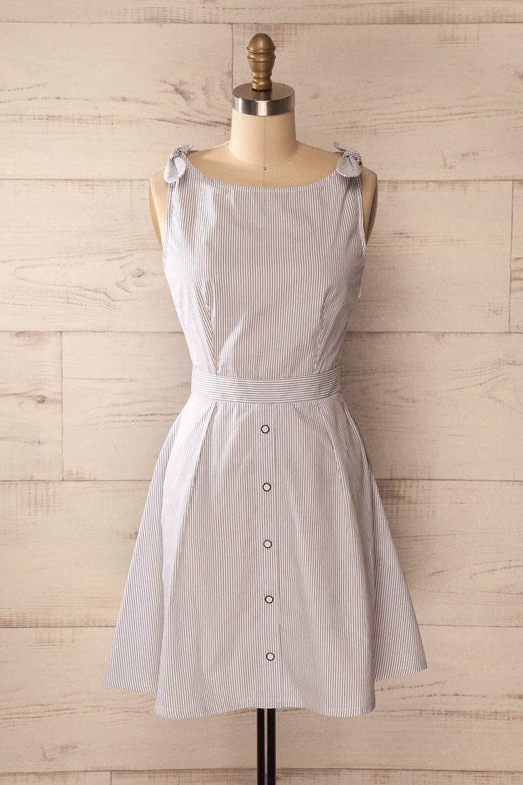 Robe chemisier trapèze blanche rayures boutons - White stripes a-line buttoned dress