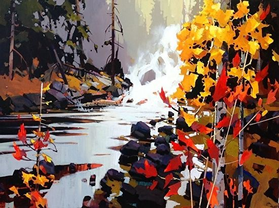 Golden Falls by Michael O'Toole Acrylic ~ 30' x 40'