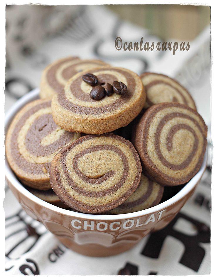 Galletas espiral de chocolate y café {by Paula, Con las Zarpas en la Masa}