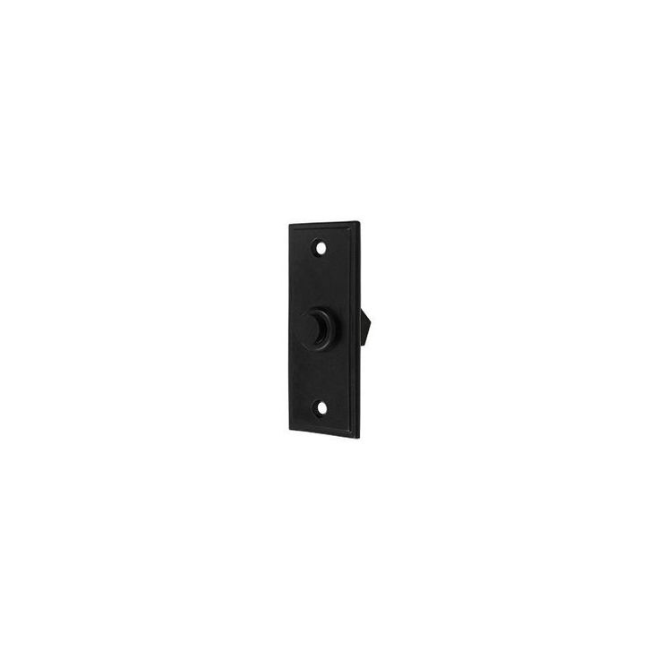 "Deltana BBS333 3-1/4"" x 1-1/4"" Solid Brass Contemporary Rectangular Bell Button Paint Black Door Accessory Door Bell Door Bell"