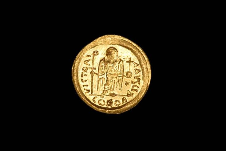 Byzantine Gold Solidus Carthage Coin of Emperor Justinian I the Great, 527 AD image 3