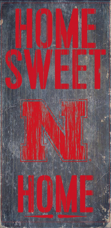 Nebraska Cornhuskers Wood Sign - Home Sweet Home 6x12