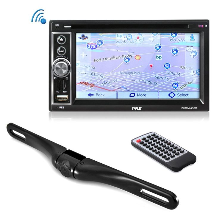 """Premium 6.5"""" Double-DIN Touchscreen Car Stereo Receiver System Video DVD USB Multimedia Player - Hands-Free Bluetooth - GPS Navigation - With Die-Cast Rearview Waterproof Backup Camera (PLDNV63BCM)"""