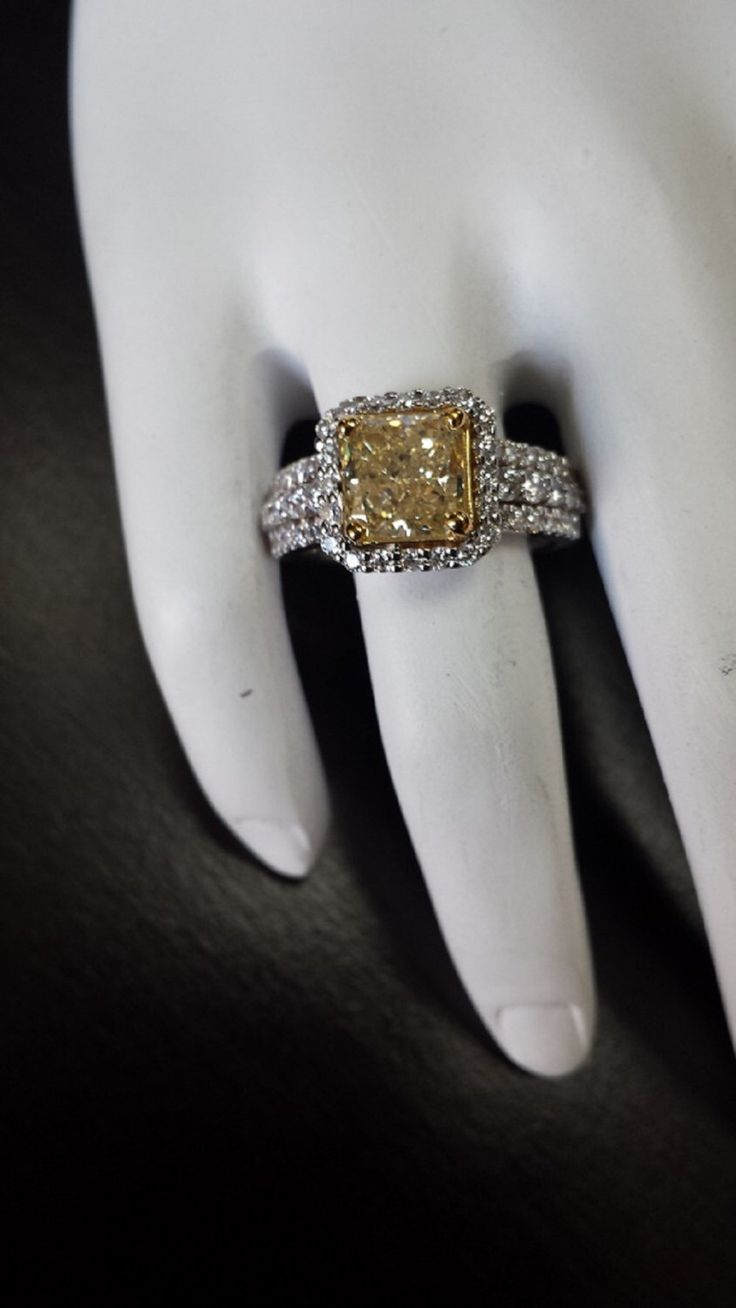 Yellow Citrine Engagement Ring - 14kt white gold diamond engagement ring 1.00 ctw G-SI2 quality diamonds with a 7 x 7 Center by EJCOLLECTIONS on Etsy https://www.etsy.com/listing/194406120/yellow-citrine-engagement-ring-14kt