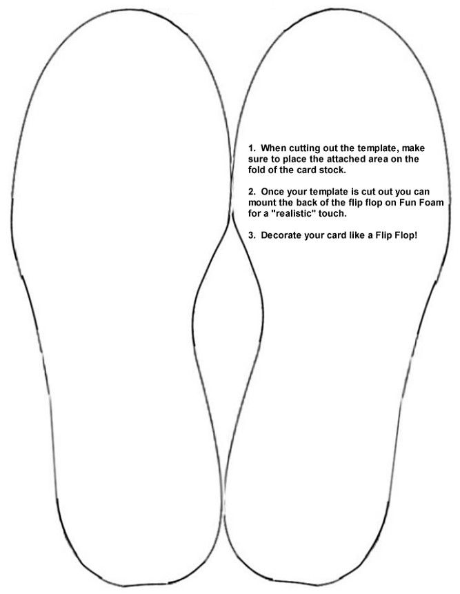 Flip flop card card templates pinterest patterns for Footprint cut out template