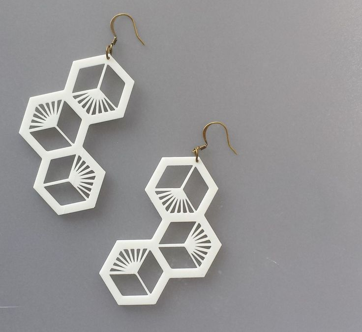 3D Printed Honeycomb Bee Cluster White PLA Bold Large Earrings with Antique Gold Findings by FISH3Ddesigns on Etsy