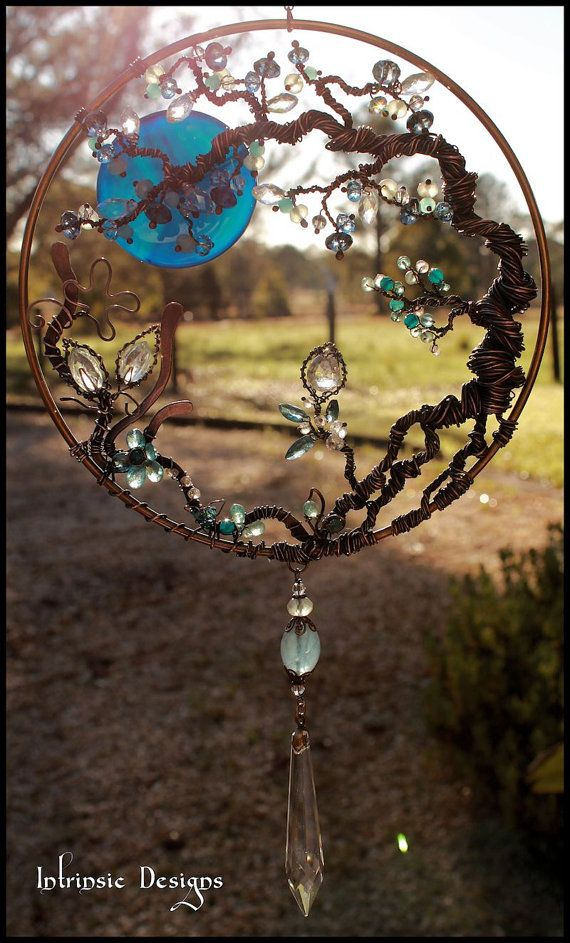 Wire Wrapped Seaside Blues, Gemstone and Swarovski Crystal Garden Suncatcher in Copper and Bronze