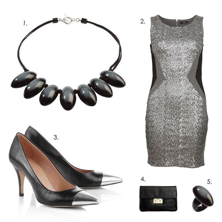 Glamorous New Year's Eve outfit! 1.Necklace: Zsiska Opaque 2.Dress: Villa 3.Pumps: Esprit 4.Clutch: Michael Kors 5.Ring: Zsiska Opaque
