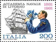 1981 - Centenario della fondazione dell'accademia navale di Livorno - raffigura: Nave scuola Vespucci e allievo che usa il sestante