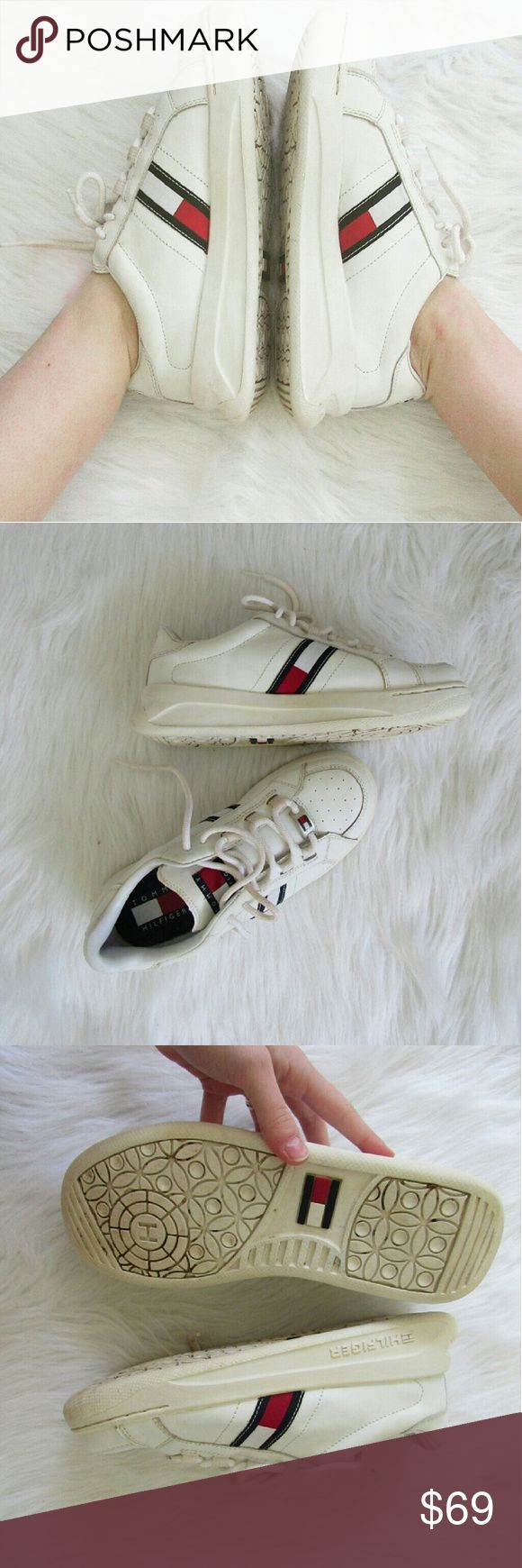 """90s Tommy Hilfiger Sneakers These shoes are """"All That!"""" The 90s are back so reunite with your favorite Tommy sneakers! These sneakers are in great condition! The leather uppers have no scrapes. They have been wiped clean but would look even more sharp if you went over them with a tide-to-go pen.  Big logos on the side. Small logos threaded into bottoms of laces. They are squishy and comfy. Nice platform and perfectly clunky. Small pull on one of the laces. Some light dirtiness on laces and…"""