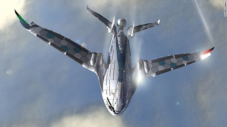 Compared to modern aircraft, which rely on fossil fuels, the Progress Eagle would employ six hydrogen engines to attain lift-off, then generate its own energy with solar panels -- which would line the room and wings.