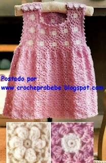 Pink crochet dress with pattern, Lovely so cute, Spanish Site.