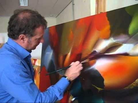 KLEURRIJKE mooie olieverfschilderijen met kleurig abstracte bloemen