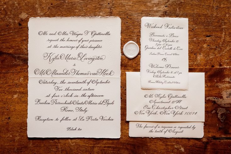 We wanted our wedding invitations to be timeless and formal yet unfussy. Wedding planner Jung Lee sourced handmade Italian paper and engraved calligraphy onto each piece. We kept our reply card blank so that guests could write us personal notes, and the envelopes were sealed with wax.