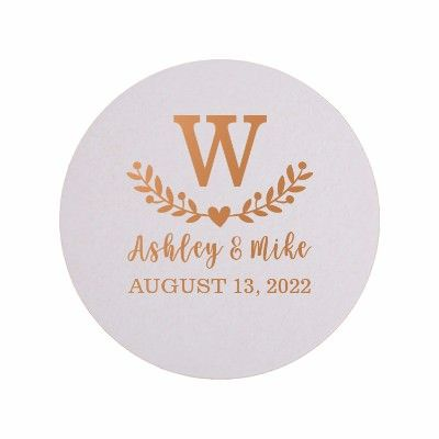 4 inch Round 60pt Pulpboard Wedding Coasters