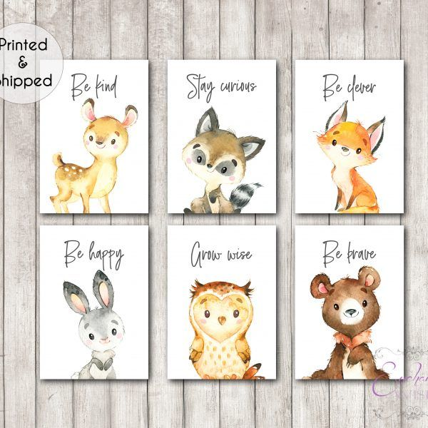 Woodland Animal Quote Nursery Prints Set of 6