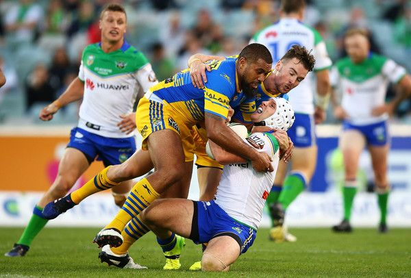Jarrod Croker of the Raiders is tackled during the round five NRL match between the Canberra Raiders and the Parramatta Eels at GIO Stadium on April 1, 2017 in Canberra, Australia.