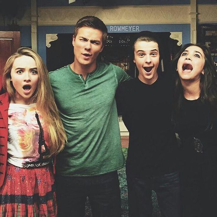 From left: Sabrina Carpenter(Maya Hart), Peyton Meyer(Lucas Friar), Corey Fogelmanis(Farkle Minkus), and of course Rowan Blanchard(Riley Matthews)!