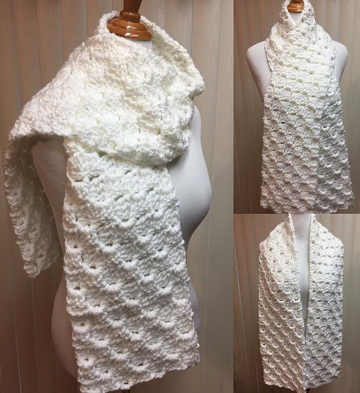 Crochet Scarf, Solid White Scarf, White Crochet Scarf, Chunky Scarf, Winter Scarf, Men's Scarf, Crocheted Scarf, Chunky White Scarf by CozyNCuteCrochet on Etsy