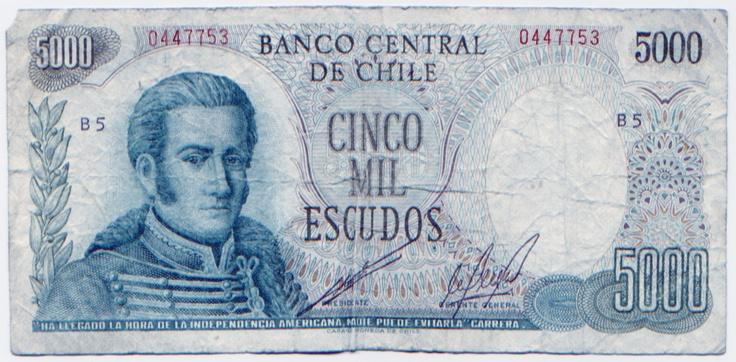 5000 Escudos - Chile. El peso fue establecido en 1817 junto con la independencia del país y se mantuvo como tal hasta el 31 de diciembre de 1959, cuando fue reemplazado por el escudo. Por medio del decreto ley 1123, publicado el 4 de agosto de 1975, el peso fue retomado como unidad monetaria a partir del 29 de septiembre de ese mismo año con una tasa de un peso por cada mil escudos.