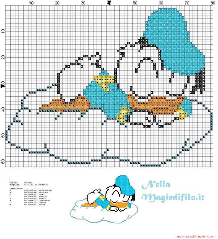 Baby Donald Duck sleeping on cloud