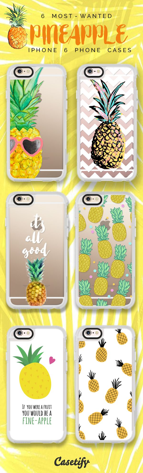 Top 6 Pineapple iPhone 6 protective phone case designs | Click through to see more iPhone phone case idea >>> https://www.casetify.com/collections/iphone-6s-pineapple-cases/?device=iphone-6s #fruit | @casetify