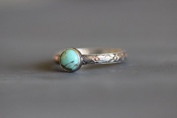 Kingman Turquoise Ring // Sterling Silver Band by MossyCreekStudio