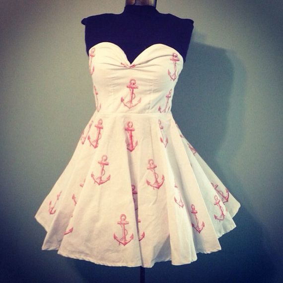 Womens White with Red Anchor Print Dress Vintage Inspired Full Skirt Sweetheart Neckline size Small on Etsy, $68.00