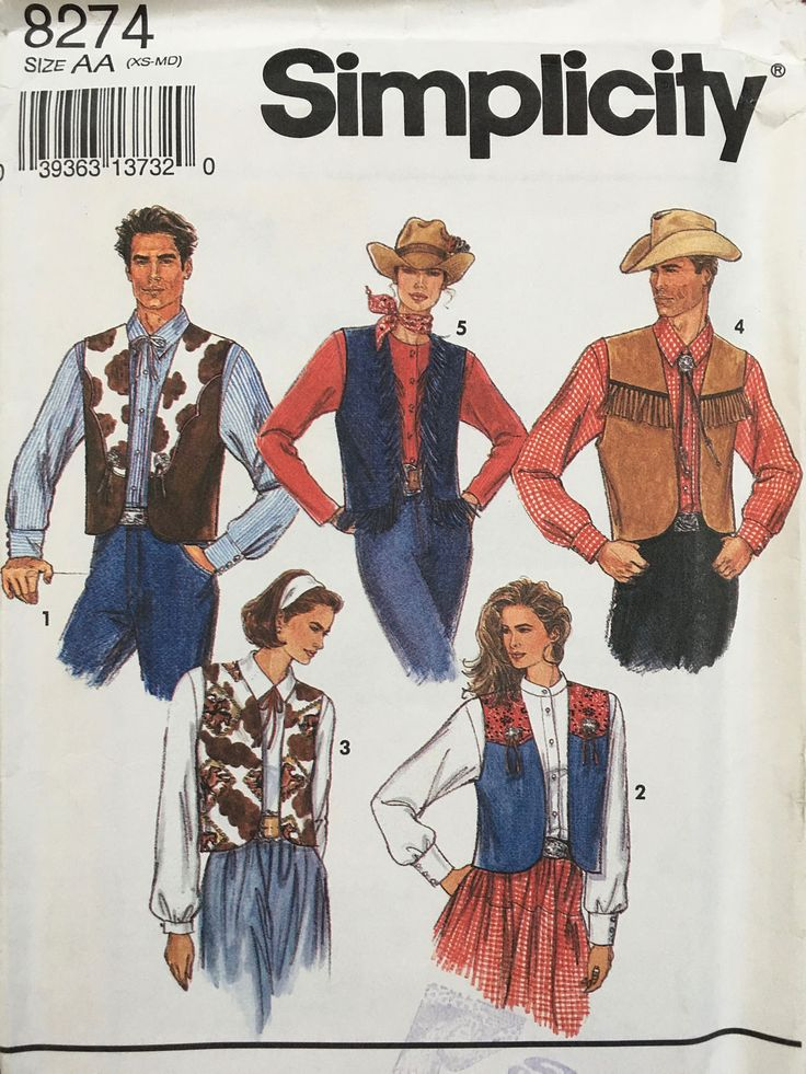 Simplicity 8274 1990s Cowboy Cowgirl Vest Pattern Mens Vest Pattern Ladies Vest Pattern Unisex Pattern Costume by weseatree on Etsy