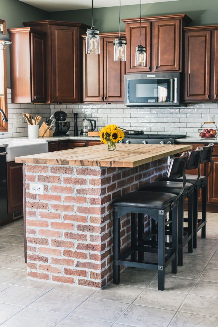Best 25 brick tile backsplash ideas on pinterest updated diy brick kitchen island behind the scenes of our kitchen renovation jelly toast dailygadgetfo Choice Image