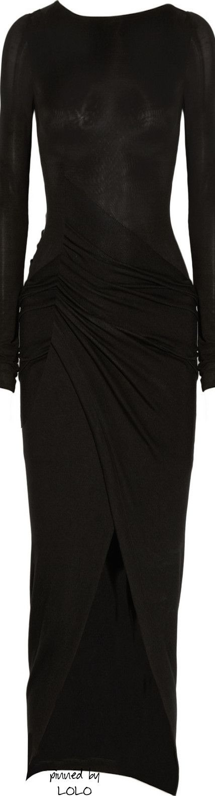 Donna Karan New York Black Draped Jersey Dress | The House of Beccaria~