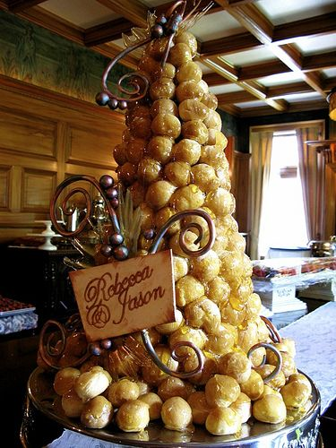 croquembouche....This is what I really wanted for my wedding cake, but David wouldn't go for it. Too French for him.